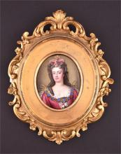 A 19th century enamel portrait miniature of Queen Anne