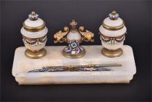 A Victorian white onyx and cloisonné desk set