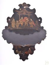 An early 20th century hand-painted and gilded chinoiserie wall shelf
