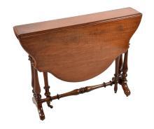A Victorian walnut drop flap Sutherland table
