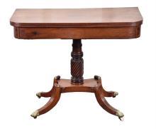 A Regency mahogany fold-over tea table