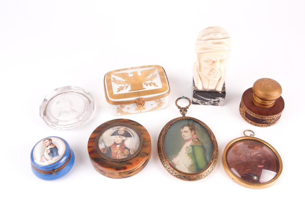 A group of collectable items, largely related to Napoleon Bonaparte, to include a Limoges ceramic box, a faux tortoisehell box, a framed medallion after Andrien (depicting Josephine), an Empire style inkwell, printed portrait miniature and others,...