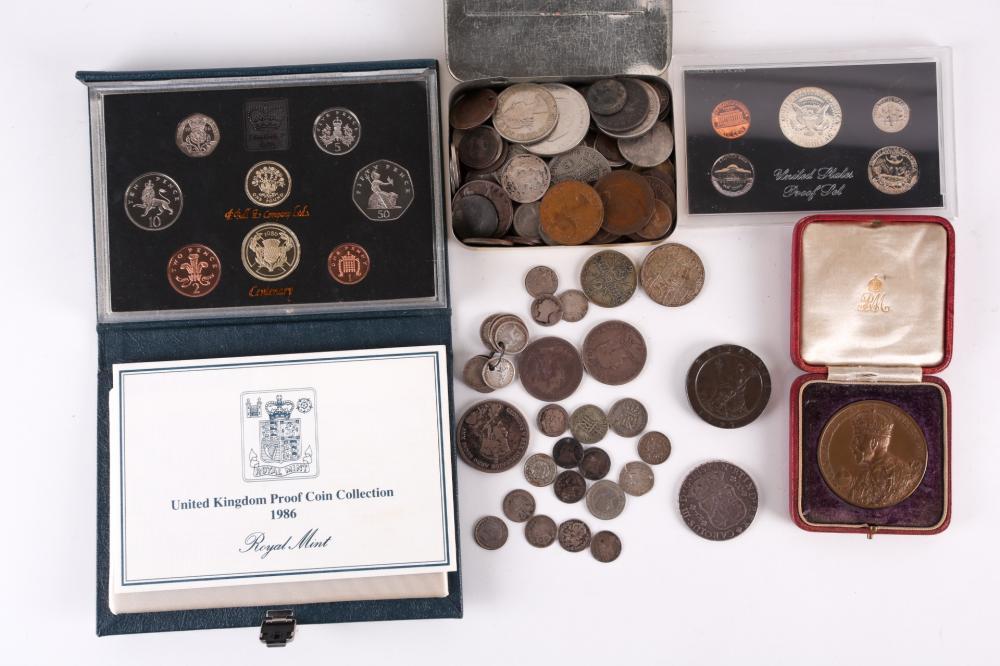 A Peru silver 8 Reales, Limas, Caroilius III, 1764, dot above both mint marks, a Geo III cartwheel twopence, 1797, two Victorian half crowns 1892/93, A Geo mV bronze coronation medal in presentation case, a Canadian silver dollar 1935, Elizabeth...