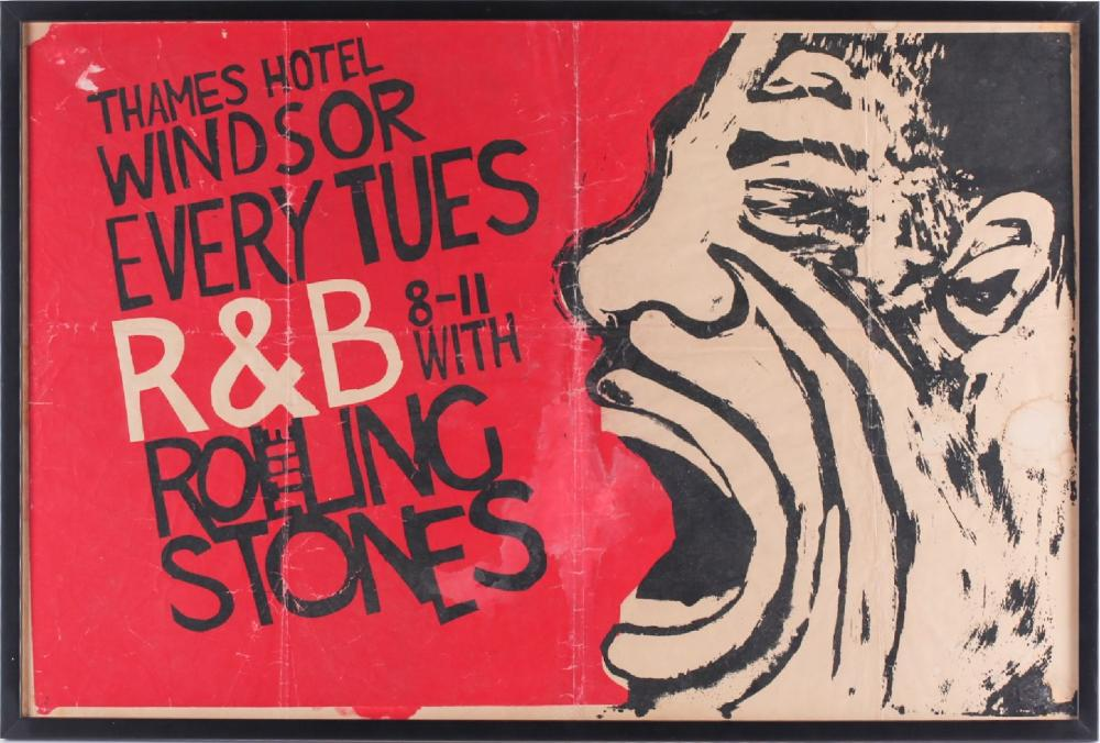 The Rolling Stones: an original early 1960s promotional concert poster, from the Ricky Tick R&B club night at the Thames Hotel, Windsor, 49 cm x 75.5 cm, glazed in a contemporary frame. The poster was designed by Bob McGrath, who produced a...