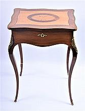 A Louis XVI style rosewood, satinwood and maple work table