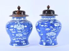 A pair of 20th century blue and white Japanese ginger jars