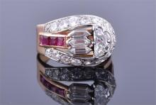 An unusual 20th century French yellow gold, diamond, and ruby ring
