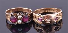 A 9ct yellow gold, pearl, and ruby ring