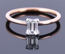 A rose gold (tested) and diamond ring