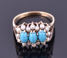 A 9ct yellow gold, turquoise and pearl ring