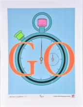 London 2012 Paralympic Games poster entitled Go, by Michael Craig Martin, framed and glazed, 79 x 59