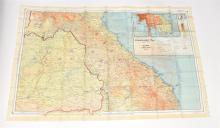 An original WWII 1944 RAF series double sided silk scarf illustrated with amap of Indo China and