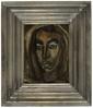 André MINAUX (1923-1986)  Portrait de femme  Huile sur panneau, signée en bas à droite  H. 25 cm L. 18,5 cm  Un tableau similaire est reproduit  dans le livre d'Eric Mercier,  Années 50 : la Jeune Peinture et l'Alternative Figurative, Artacatos, 2010