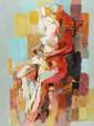 Jean CHEVOLLEAU (1924-1996)   Nu assis  Huile sur toile, signée en bas à droite  Contresignée, titrée et numérotée 193 au dos  H. 73 L. 54 cm  Provenance : Galerie Ferrero, Genève