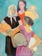 Antoine CHARTRES (1903-1968)  Femmes au cruches en Espagne  Huile sur toile signée en bas à droite  Au dos: contresignée et titrée, inscription