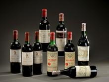 Deux bouteilles de Saint-Emilion, château Pavie, 1958   Un niveau très légèrement bas, un haute-épaule, une étiquette déchirée