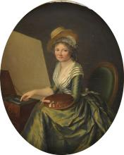 Attribué Marie Victoire LEMOINE (1754 - 1820) Autoportrait au chevalet. Hu