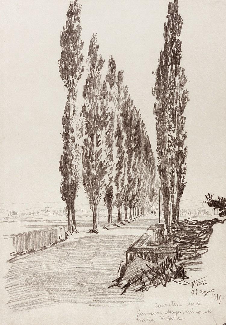 SALVADOR AZPIAZU Portal de Gamarra. Vitoria. Drawing on paper  (Vitoria 1867 - 1927)