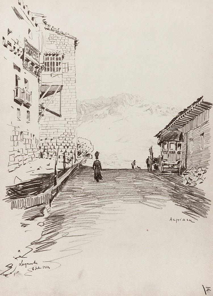 SALVADOR AZPIAZU Calle de Laguardia. Drawing on paper  (Vitoria 1867 - 1927)