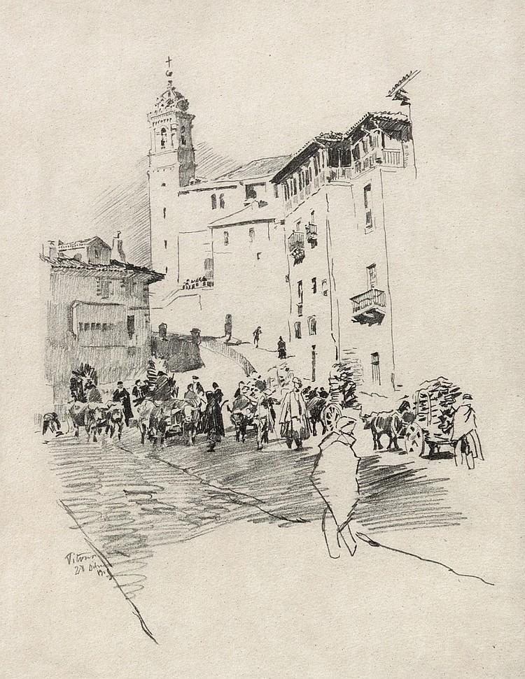 SALVADOR AZPIAZU Cuesta de San Vicente. Vitoria. Drawing on paper  (Vitoria 1867 - 1927)