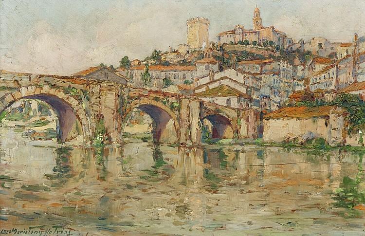 LUIS MARISTANY DE TRIAS Vista de Monforte de Lemos. Oil on board  (1885 - 1964)