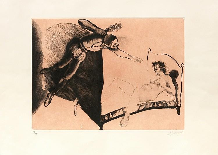 ANDRÉS BARAJAS Untitled. Colored engraving on paper  (Huelma, Jaén 1941)