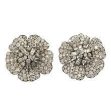 Art Deco Platinum Diamond Flower Earrings