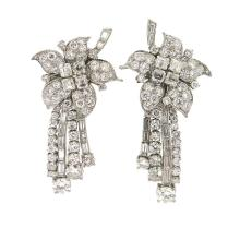Van Cleef and Arpels 1950's Platinum Diamond Day and Night Earrings