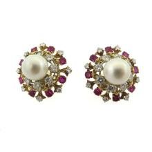 David Webb Cultured Pearl Diamond Ruby Earrings