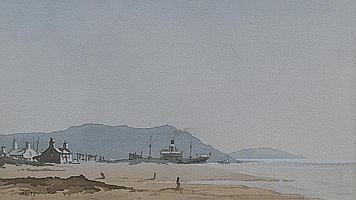 Colin Verity (1924 - ), coastal scene with a steam