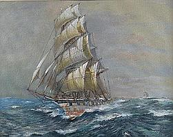 Colin Verity (1924 - ), boat in full sail on rough