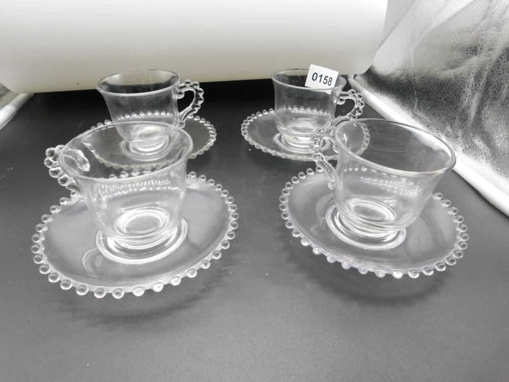 4 ELEGANT IMPERIAL CANDLEWICK CUP & SAUCERS