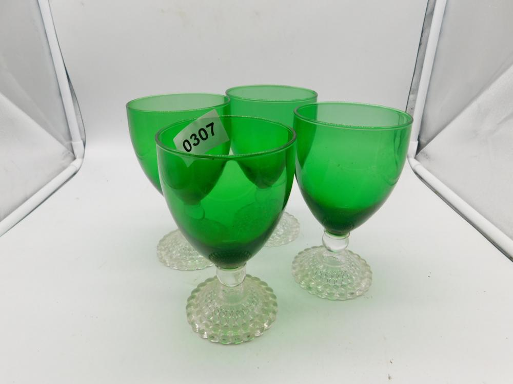 4 DEPRESSION FOREST GREEN BOOPIE WATER TUMBLERS