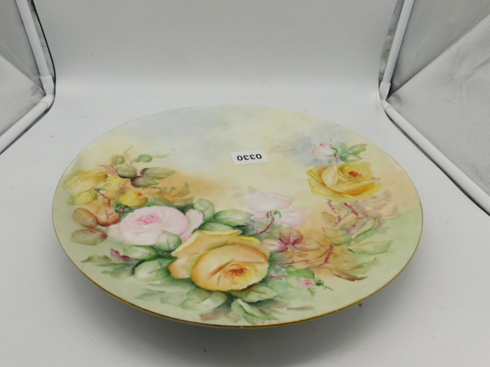 HAND PAINTED PORCELIAN PLATE SIGNED BY ARTIST MADE BY T & U LIMOGES