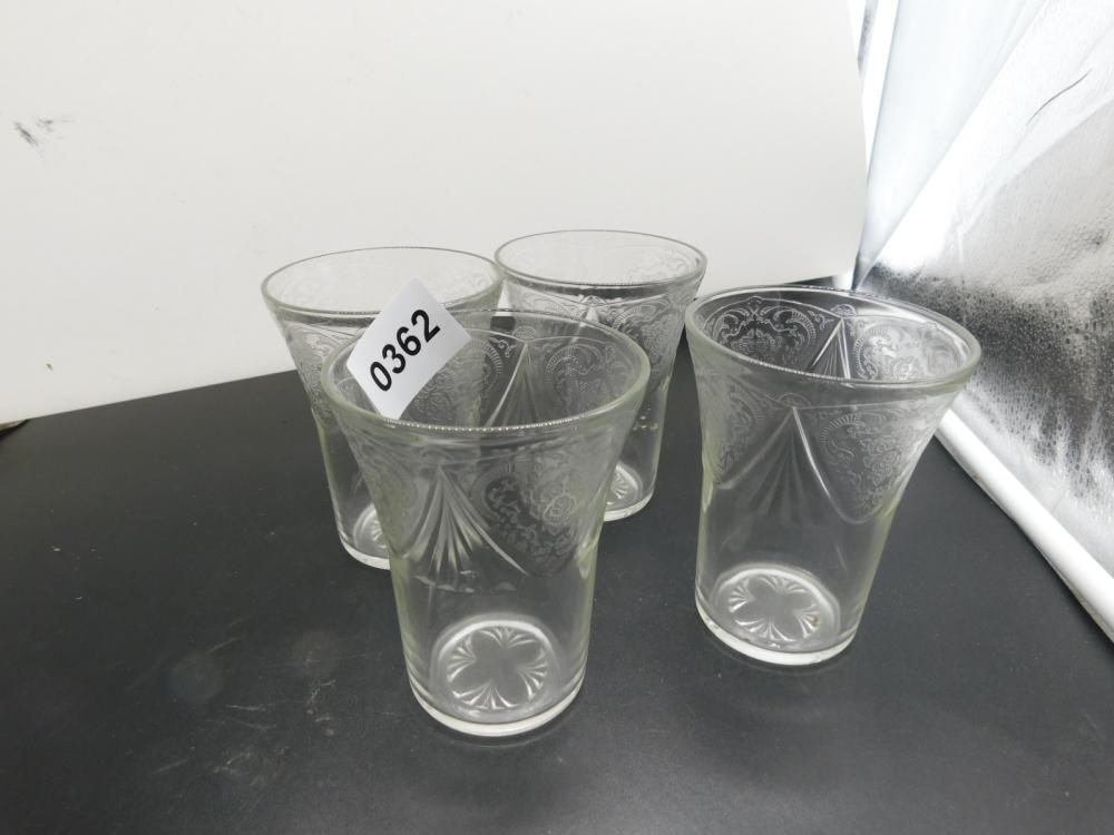 4 DEPRESSION ROYAL LACE CLEAR TUMBLERS