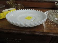 DIAMOND POINT MILK GLASS BOWL