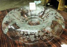 Paden City Large Peacock and Wild Rose console bowl