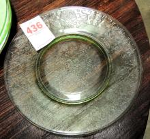 Green Florentine luncheon plates, set of 5