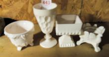 Lot of 4 Pink Milk Glass pieces