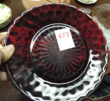 Lot of 2 Red bubble dinner plates