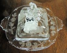 Heisey Rose Butter Dish