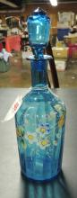 LIGHT BLUE DECANTER HAND PAINTED