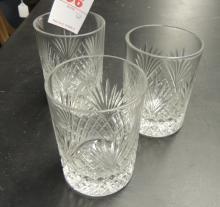 3 CUT GLASS TUMBLERS