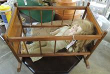 DOLL BED AND VINTAGE DOLL