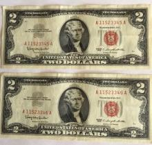 Two Sequential $2 Bills