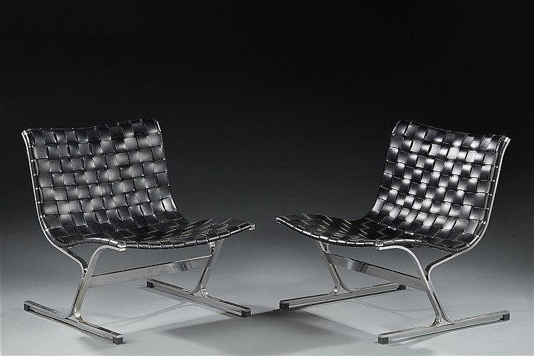 Ross Littell (1924-2000) ?& ICF Editeur Paire de fauteuils modèle Luar str