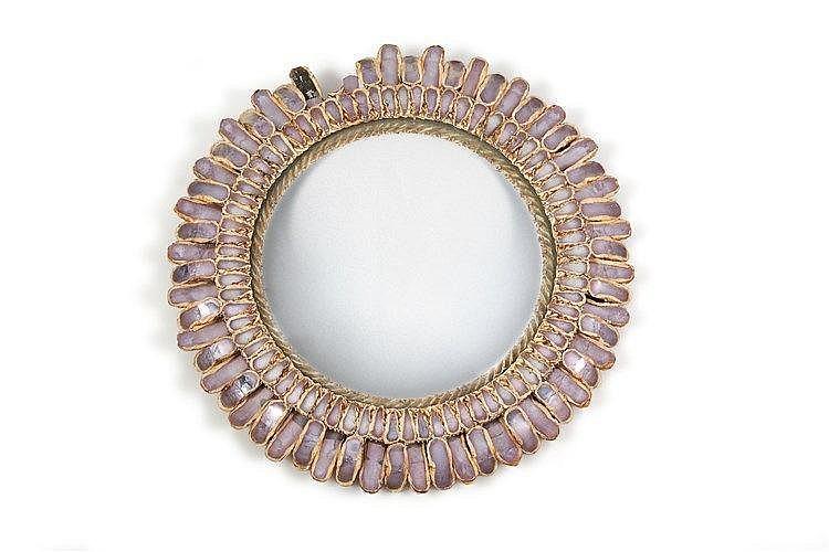 LINE VAUTRIN (1913-1997) Miroir en talosel modèle Marguerite, signature in