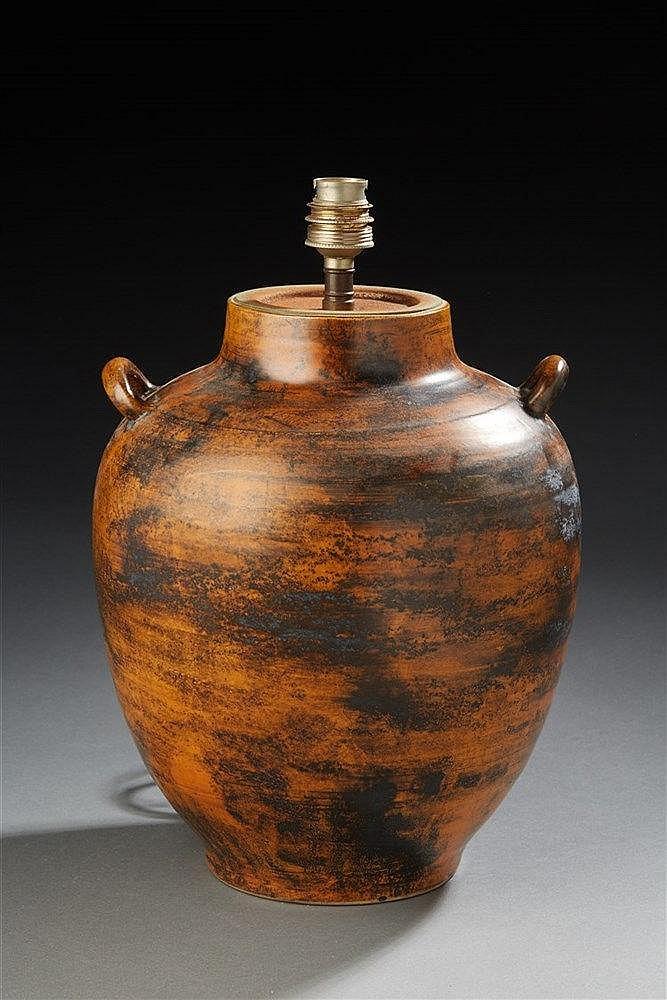 Jacques Blin (1920-1995) Pied de lampe de forme ovoïde en céramique émaill
