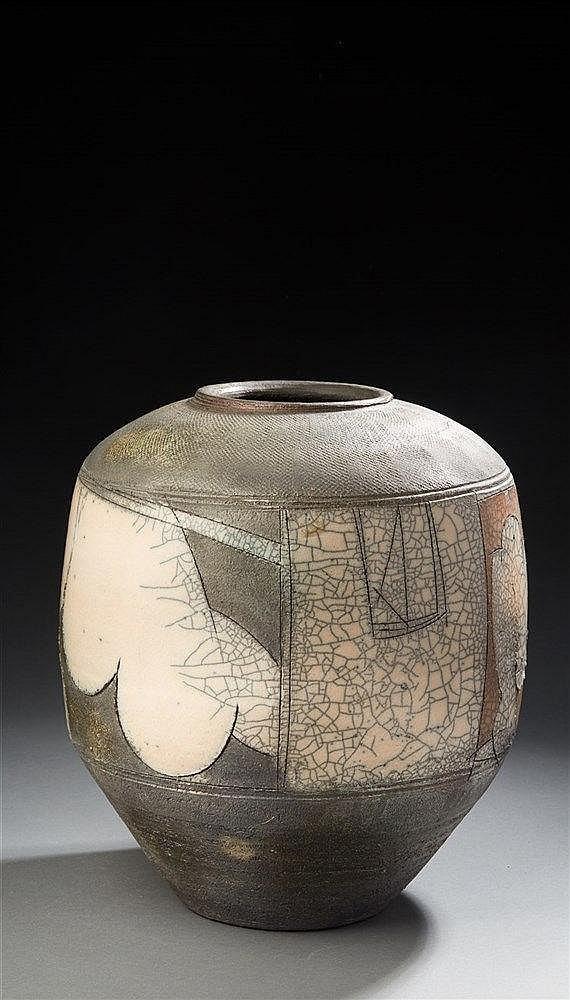 Eric Astoul ?(né en 1954 ) Vase ovoïde en grès fumé et partiellement émai