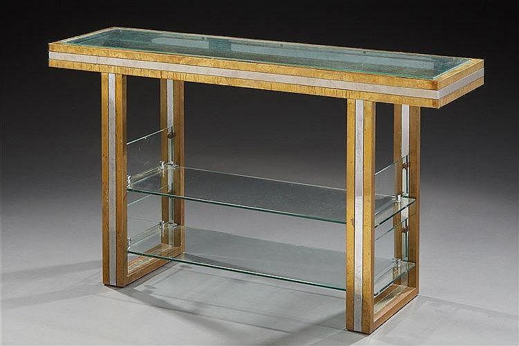 Romeo Rega (XXe) Console rectangulaire à structure en métal chromé et doré